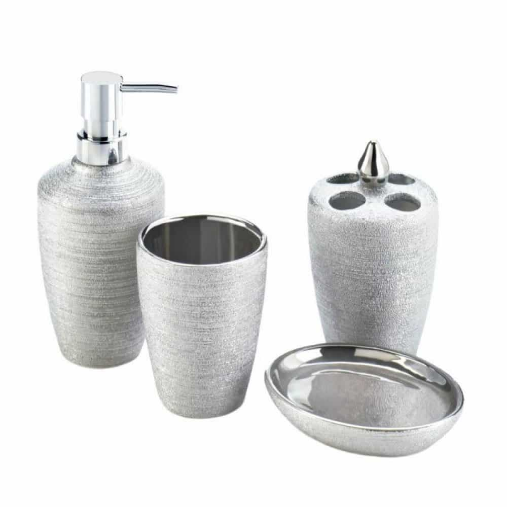 Silver shimmer bath accessory set upc 849179030285 for Bathroom accessories silver