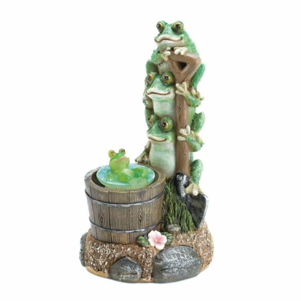 Solar rotating frog garden decor upc 849179031022 for Decorative garden accents