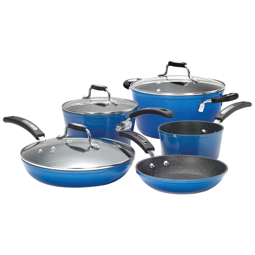 The rock by starfrit 8 piece cookware set with bakelite for Decor 8 piece lunch set