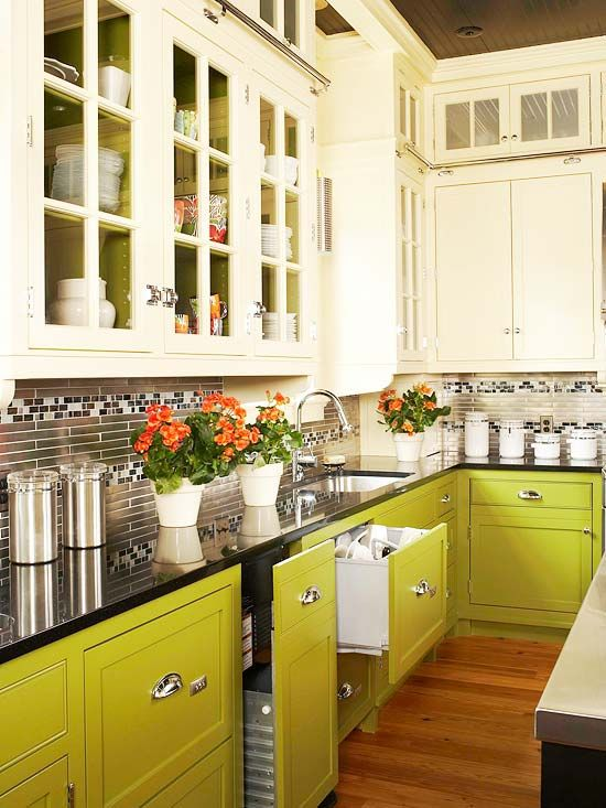 lime green and cream kitchen
