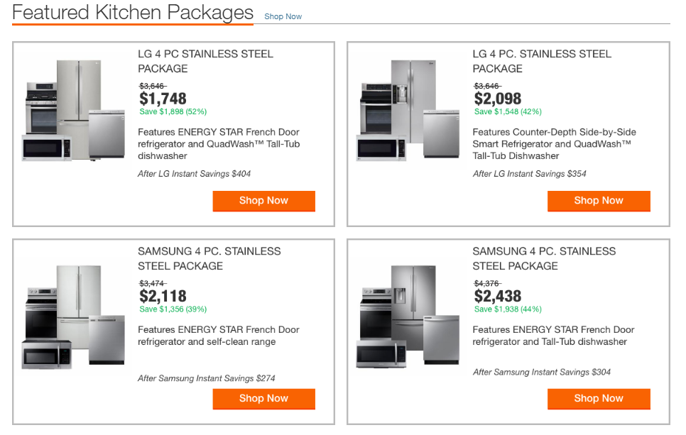 buy in july home depot appliance packages