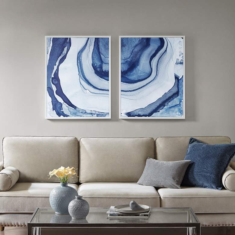 """Ethereal 29 1/2""""H 2-Piece Printed Framed Canvas Wall Art Set"""