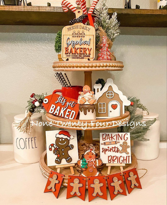 gingerbread tiered tray decor