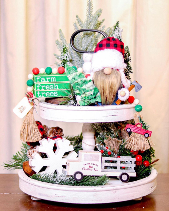 christmas menagerie tiered tray decor