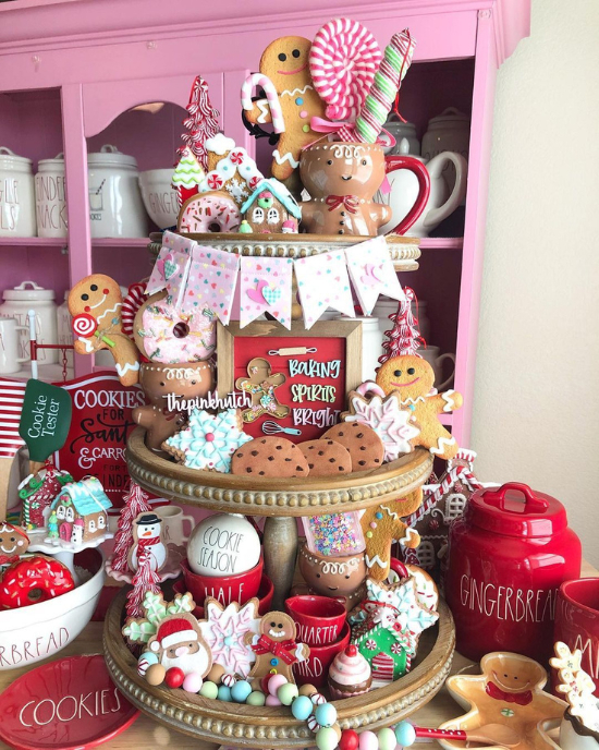 pink candyland tiered tray display