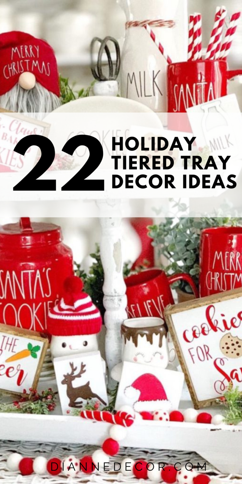 There's nothing more spectacular than over-the-top holiday tiered tray decor. Here are 23 of my favorite Christmas tiered tray displays. #holidaytieredtray #tieredtray #tieredtraydecor #homedecor #holidaydecor #decor #decoratingonabudget