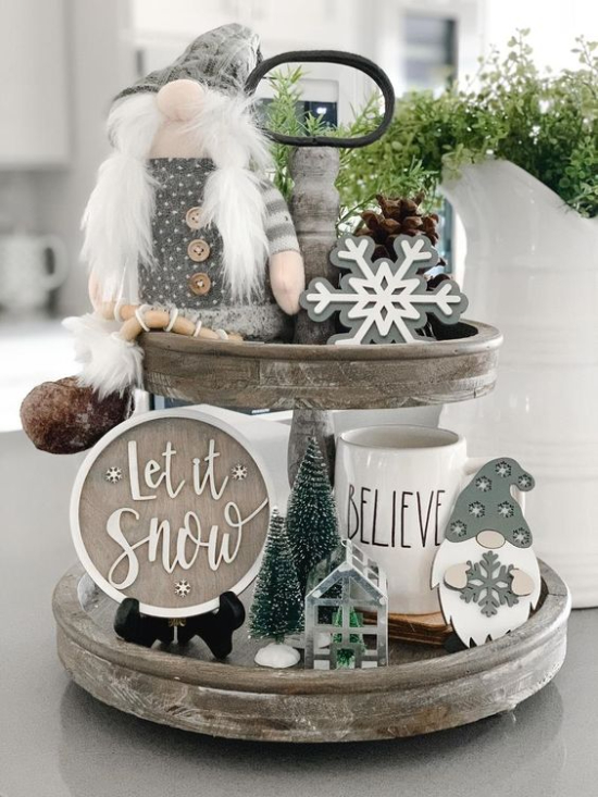 gray and white christmas tiered tray decor