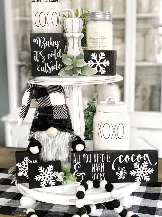 black and white christmas tiered tray