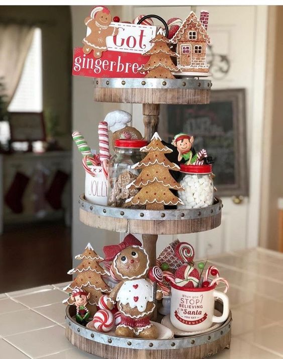 gingerbread and elves holiday tray display