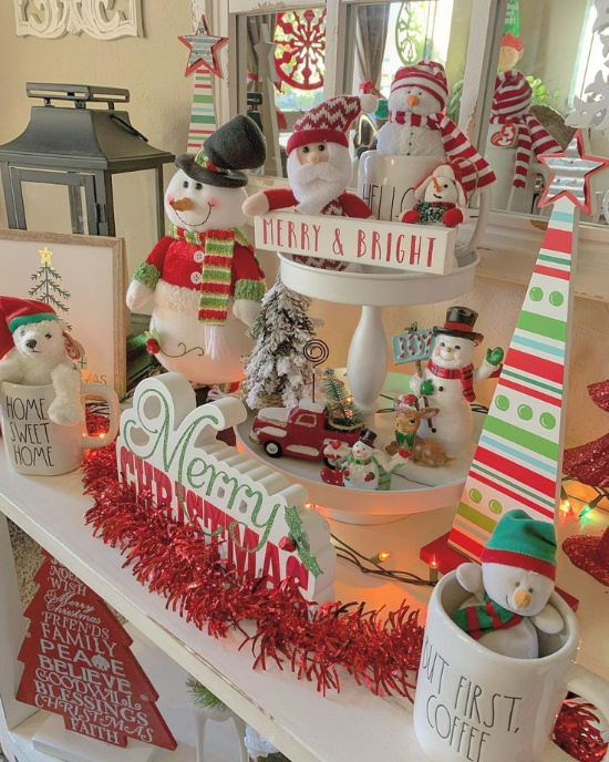 snowman tiered tray