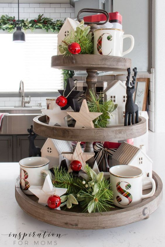 3 tiered holiday tray