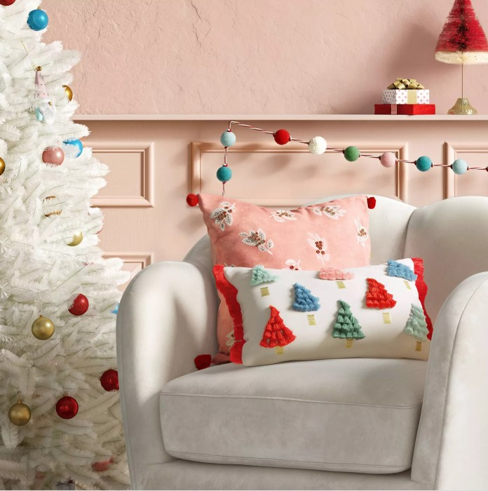 Holiday Christmas Trees Lumbar Throw Pillow with Tassels - Opalhouse™