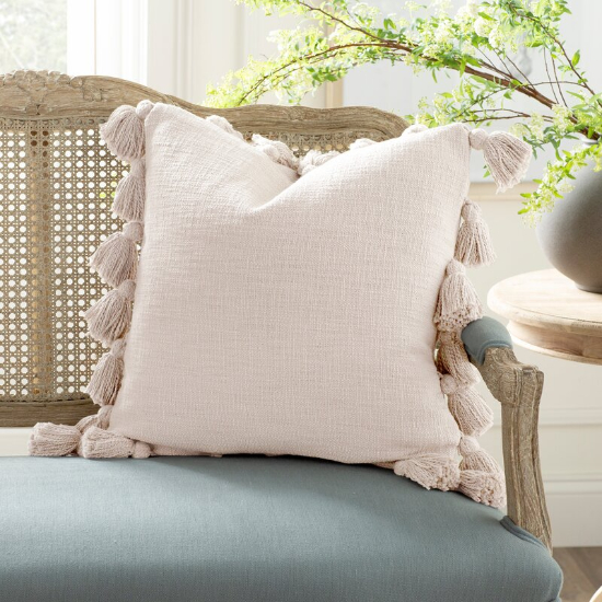 decorative pillow with tassels