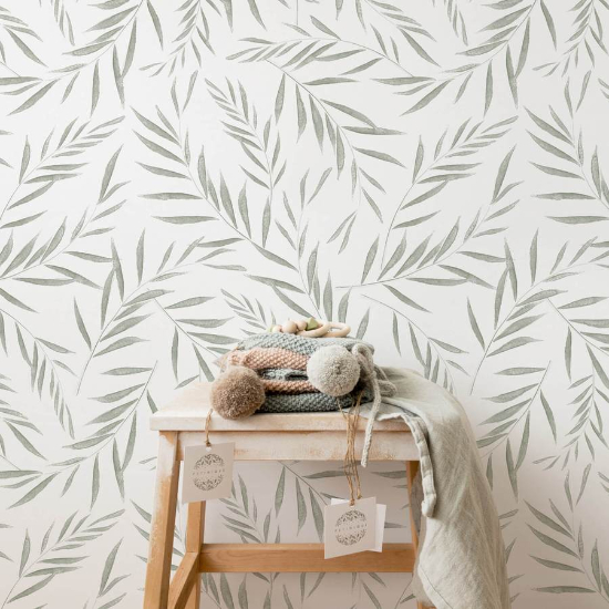 Light Green Botanical Foliage Removable Wallpaper