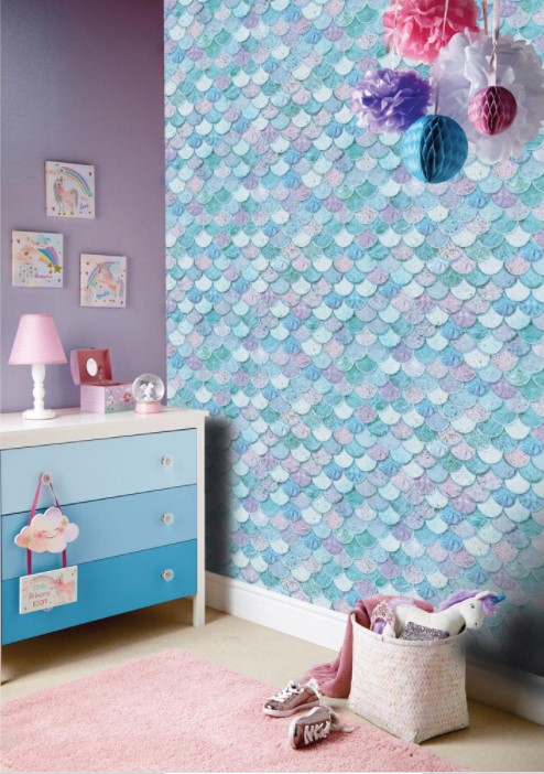 kids wallpaper ideas - Mermazing Scales Ice Blue Paper Strippable Roll