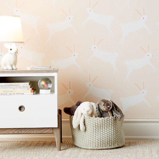 kids wallpaper patterns - Chasing Paper Pink Leaping Bunnies Removable Wallpaper