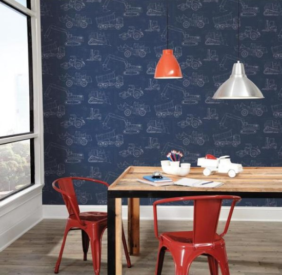 Construction Blueprint Paper Strippable Wallpaper