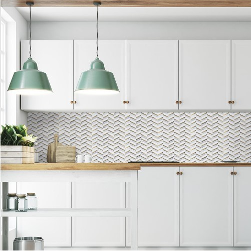 Dreamcicle White 11.75 in. x 12.75 in. x 8 mm Chevron Natural Stone/Metal Wall and Floor Mosaic Tile