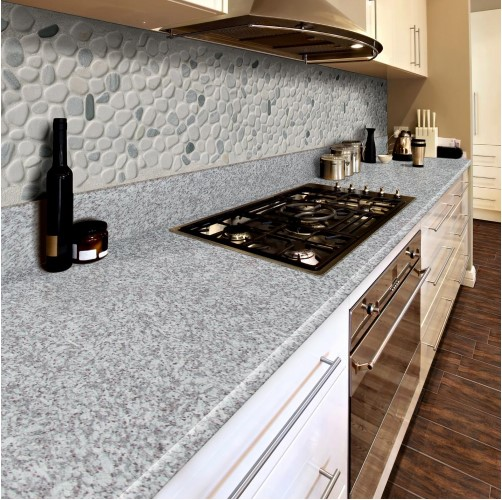Black/White Pebbles 11.42 in. x 11.42 in. x 10 mm Textured Marble Mesh-Mounted Mosaic Tile