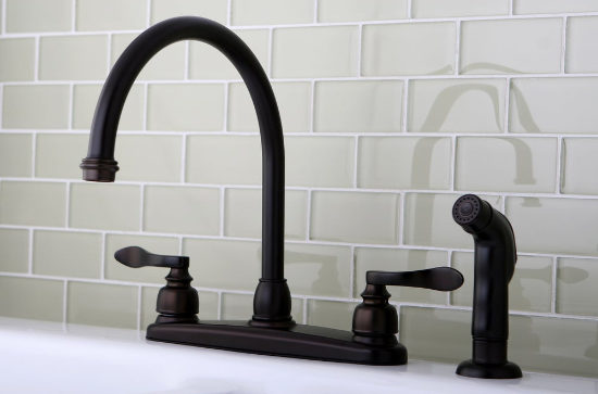 Two-Handled Kitchen Faucet with Side Sprayer