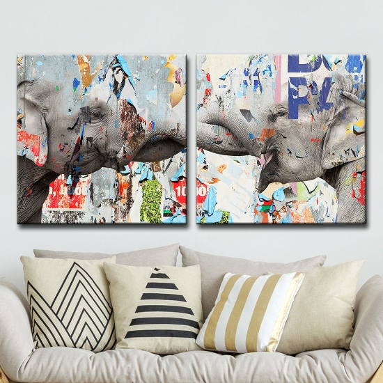 oversized wall art - The Curated Nomad 'Saddle Ink Elephant VI' Canvas Wall Art Set