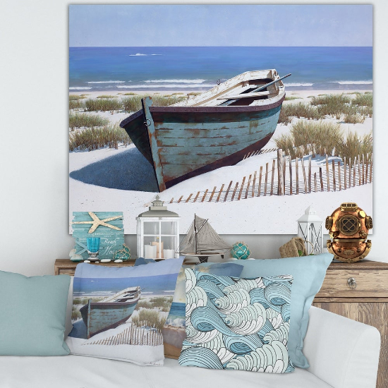 oversized wall art - Designart 'Blue Boat on Beach' Nautical & Coastal Canvas Artwork Print