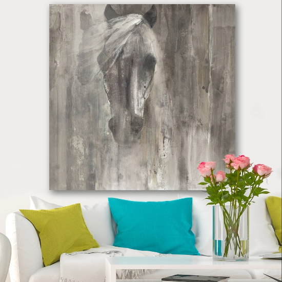 Designart 'Farmhouse Horse' Modern Farmhouse Canvas Artwork Print - Grey