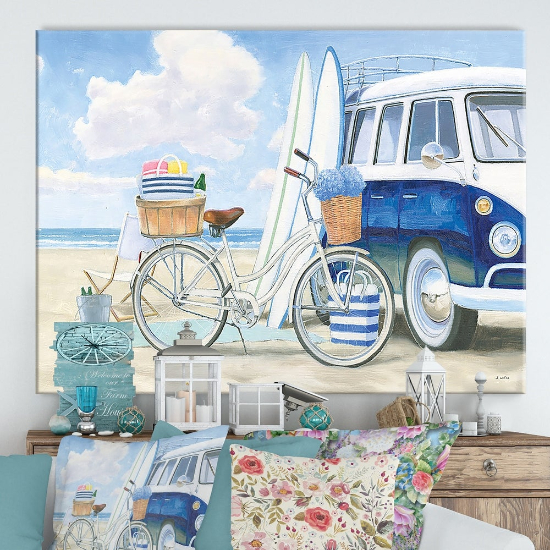 Designart 'RW Beach Time I' Cottage Canvas Wall Art