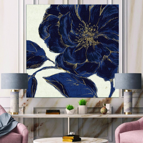 oversized wall art - Designart 'Dark Rose Gilded Gold' Floral Canvas Artwork Print - Blue