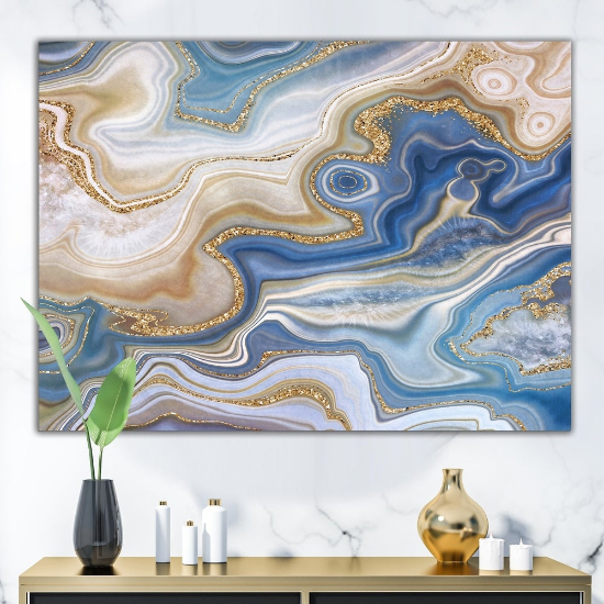 Designart 'Ocean Blue Golden Jasper Agate II' Modern Canvas Wall Art Print