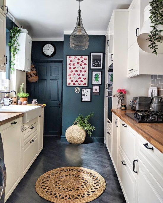 center chandelier galley kitchen
