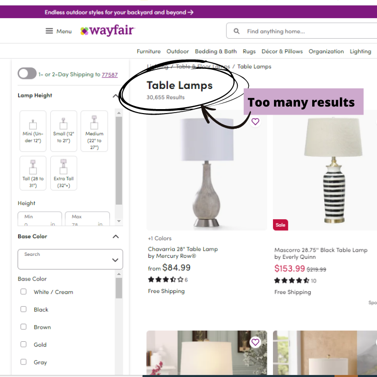 How To Shop At Wayfair - Example 1